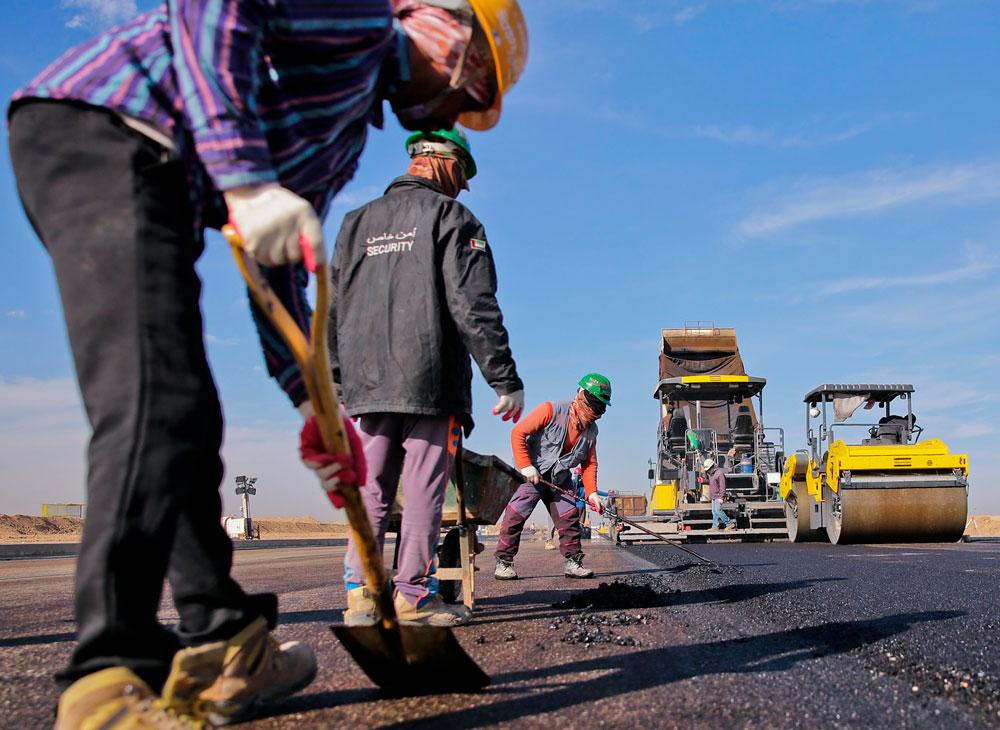 Trabajadores en una obra civil pública