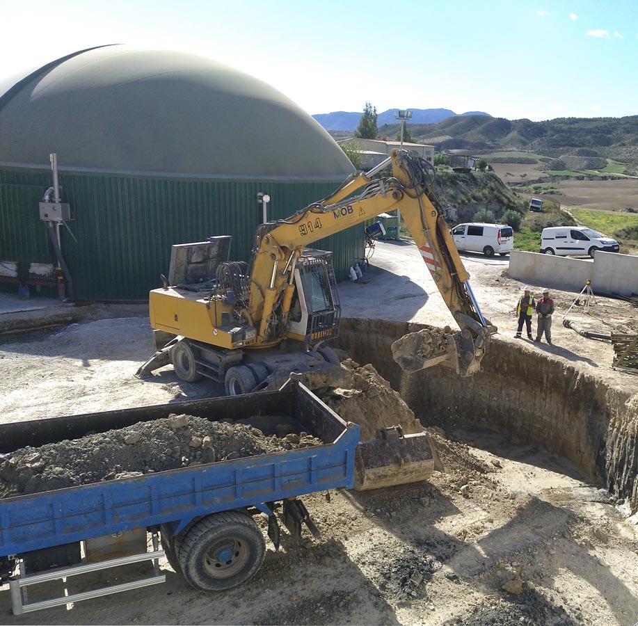 Excavación en la planta de purines en Lorca